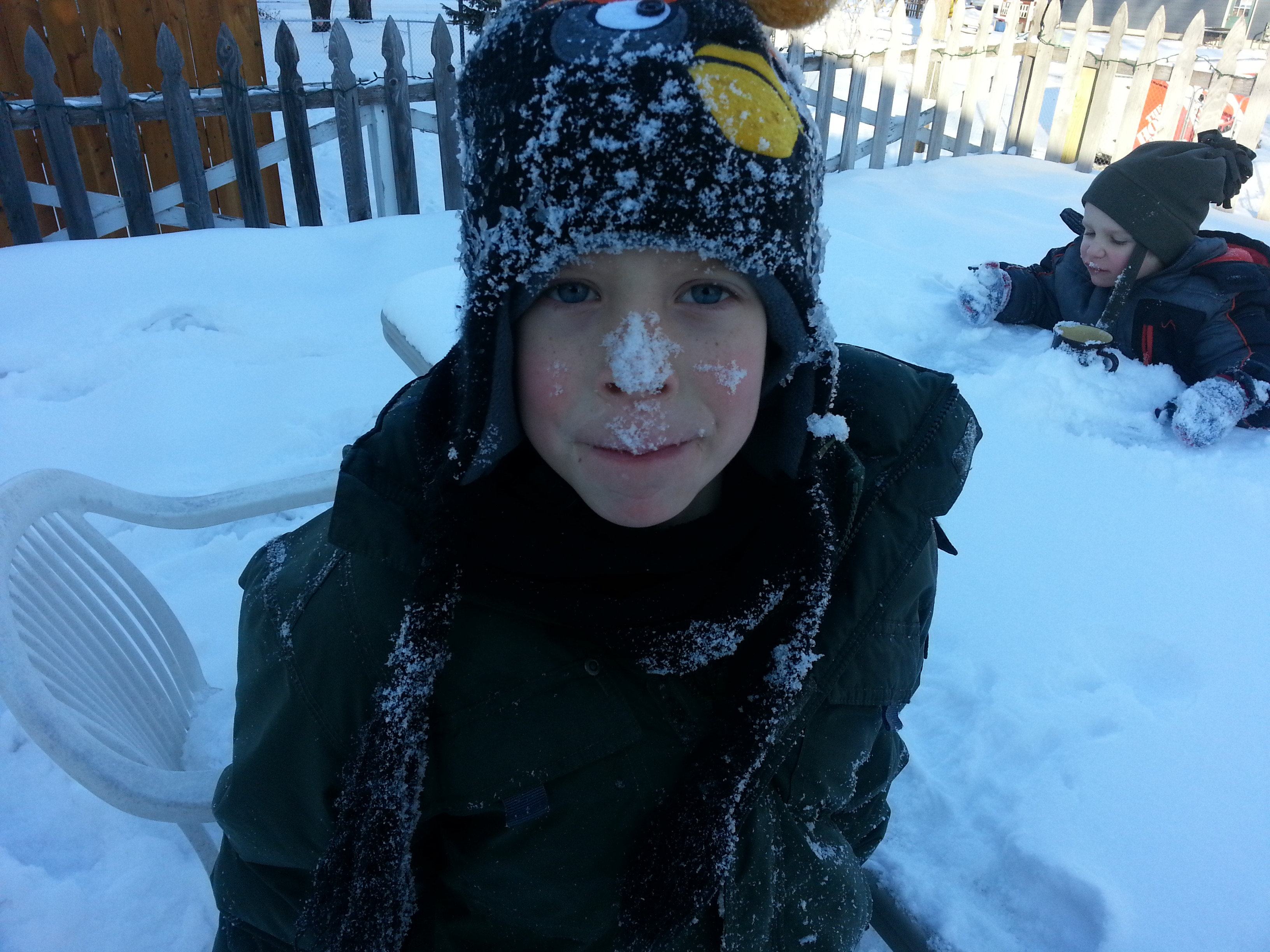 boy with snow on nose